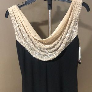 New Betsy & Adams black gown beaded nude bust 6